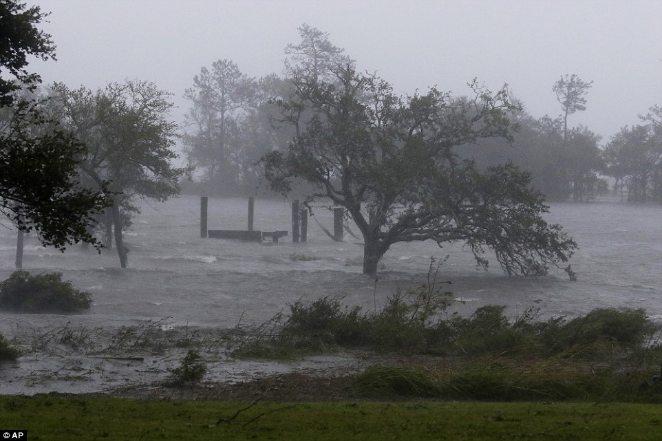 Trees bend in the heavy winds and surging waters as Hurricane Florence hits Swansboro in North Carolina on Friday