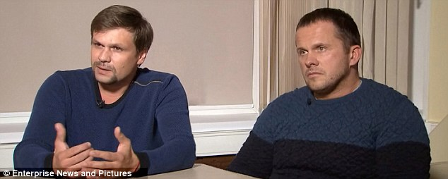 Lies: The suspects Ruslan Boshirov, left, and Alexander Petrov - secret documents show the connection of the Novichok duo with the Russian military