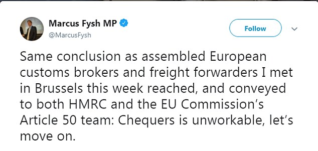 Tory MP Marcus Fysh urged the PM to accept that her Chequers plan is unworkable and to move on to a new proposal