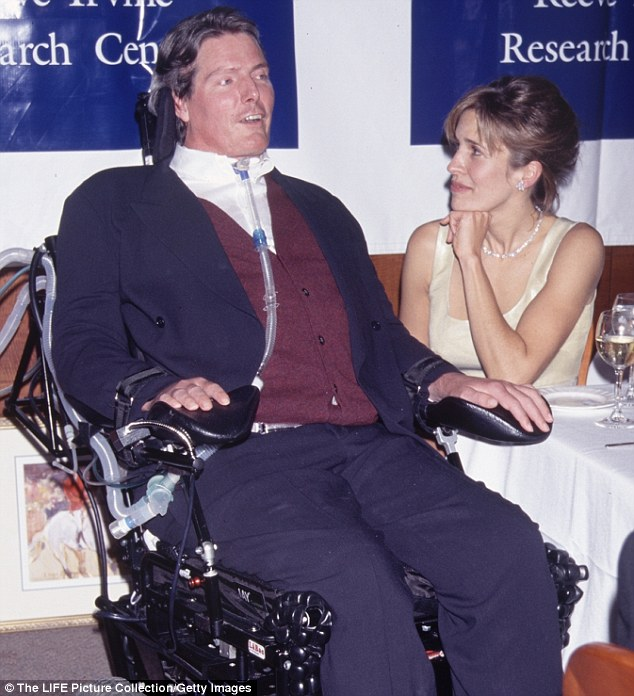 The research was partly funded by the Christopher and Dana Reeve Foundation. The Superman actor was left paralyzed from the neck down after a horse-riding accident in May 1995. Pictured: Christopher and Dana Reeve in 1996