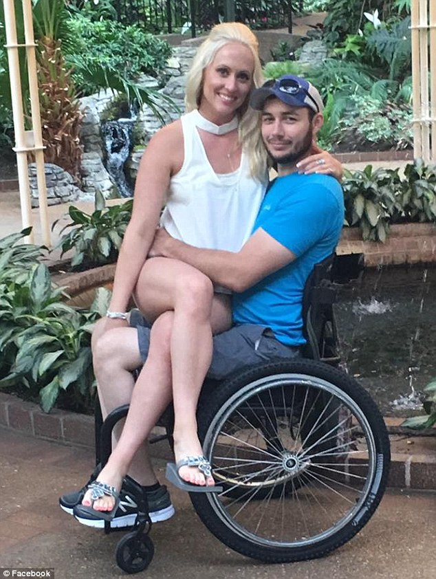 Jered Chinnock, 29 (pictured with his wife Jennifer), from Tomah, Wisconsin, was left paralyzed after a snowmobile accident in February 2013