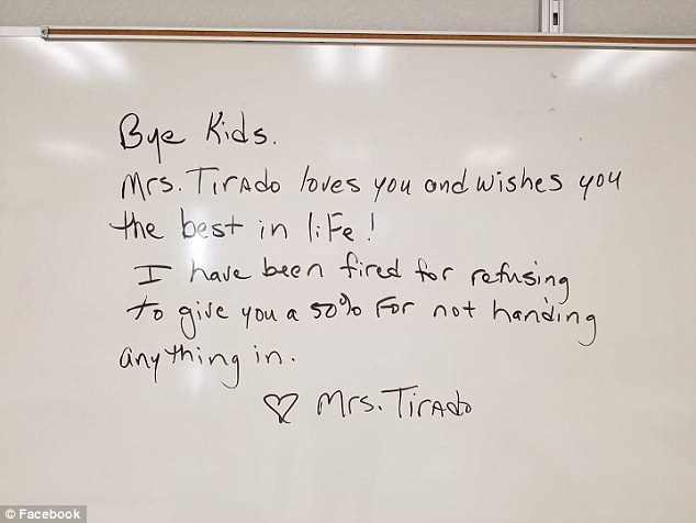 Viral farewell: Florida teacher Diane Tirado left this message for her eighth-grade history class after she was fired on September 14