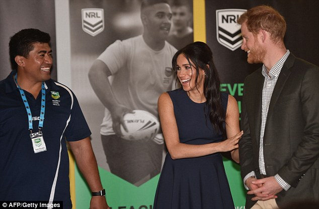 The Duke and Duchess were introduced to teenage boys and girls from the In League In Harmony project from the NRL