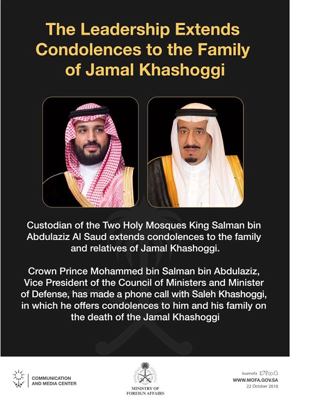 More than two weeks after Jamal Khashoggi was murdered, Saudi King Salman and Crown Prince Mohammed bin Salman offered their condolences to his family. The Ministry of Foreign Affairs released this official image to announce the news