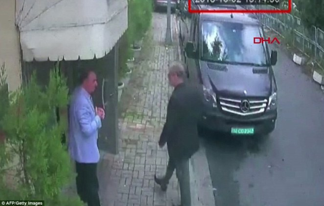 Jamal Khashoggi (right) arriving at the Saudi Arabian consulate in Istanbul on October 2. He has not been seen since and Turkey has accused Saudi agents of murdering him