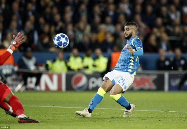 Lorenzo Insigne gives Napoli the lead with a clipped finish after being played through on goal by Jose Callejon