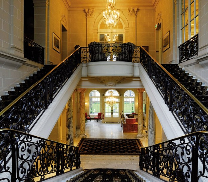 These beautiful staircases also have two floors for children with a games and TV room and two living rooms in the 50,000 square foot Super Villa and the main bedroom suites for him and her in the lower levels