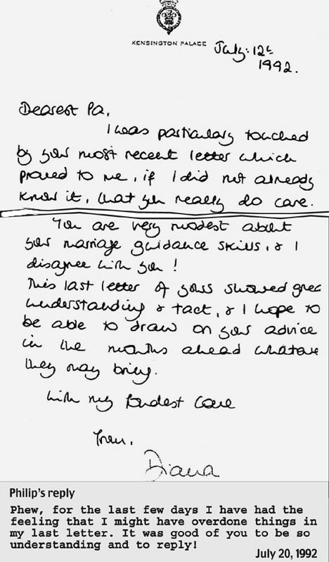 Revealed Diana's Letters To Duke Of Edinburgh Reveal Her