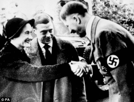 Ex-king Edward VIII and his wife Wallis Simpson meet and greet Adolf Hitler