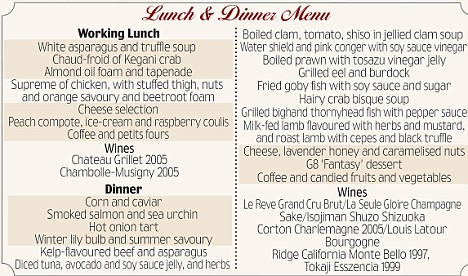 Lunch and dinner menu