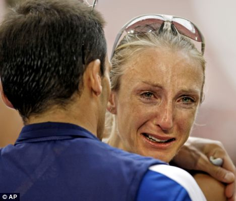 Radcliffe in Tears in Beijing. Courtesy of Daily Mail.co.uk