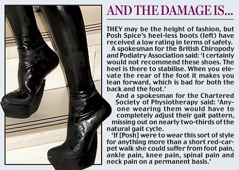 Beckham mania as Poshs heelless thighhigh PVC boots stop traffic in New York  Daily Mail Online