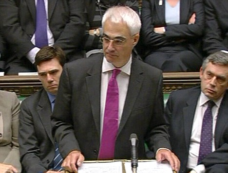 No longer a Trotskyist: Alistair Darling during Prime Minister's Questions in the House of Commons