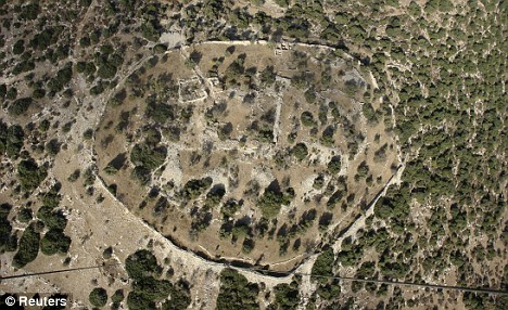 The archaeological site called Elah Fortress, or Khirbet Qeiyafa, seen in an undated aerial photograph, where the shard was found