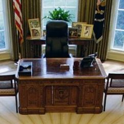 Oval Office Chair Antique Rocking With Carved Face Inside Obama S The Plush Furnishings Awaiting Desk