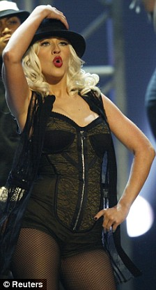 Christina Aguilera performs at the 2008 American Music Awards