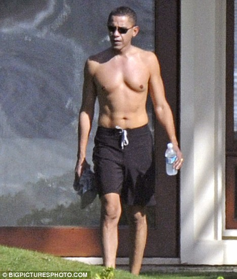 Barack Obama on holiday in his trunks