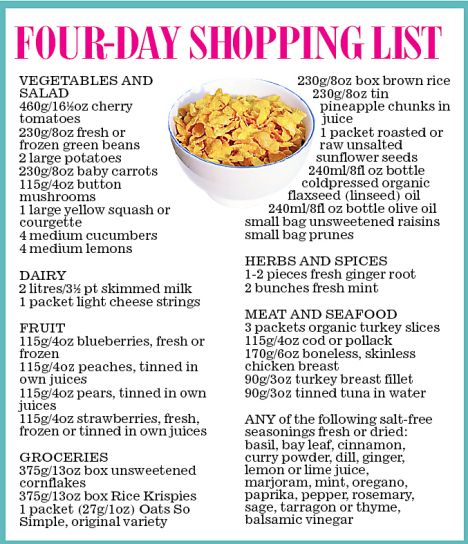 Four day shopping list