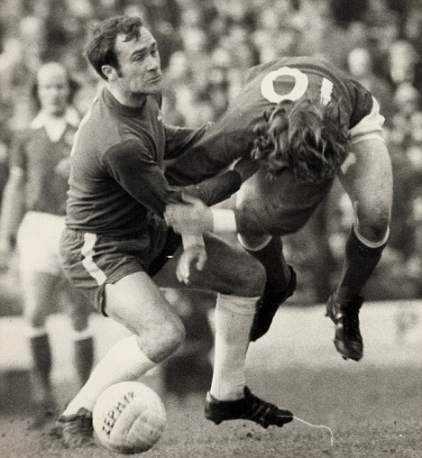 Ron Harris (left) tackles Stan Bowles - Chelsea v QPR at Stamford Bridge