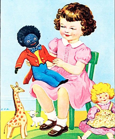 Book character: A golliwog cartoon from a fifties children's book