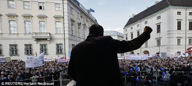 Austrian far right leader Heinz Christian Strache addresses a rally