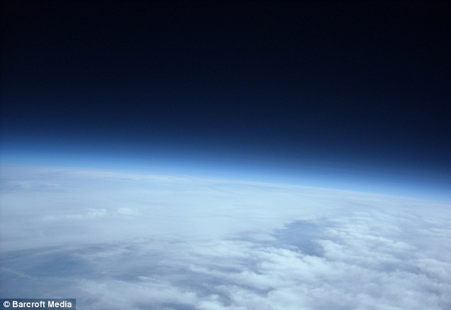 Astronomic achievement: An image of the stratosphere taken by the group of four Spanish students by tying a camera to a balloon and sending it to the edge of space