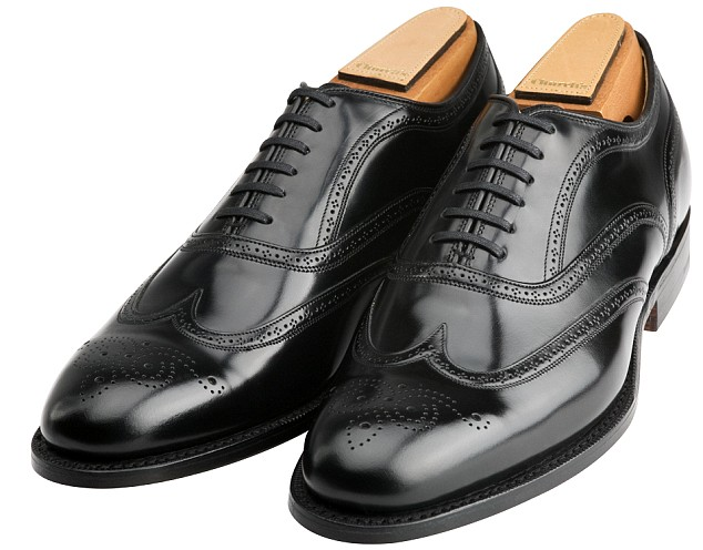 Black Leather Wingtip Oxford Shoes by Church's