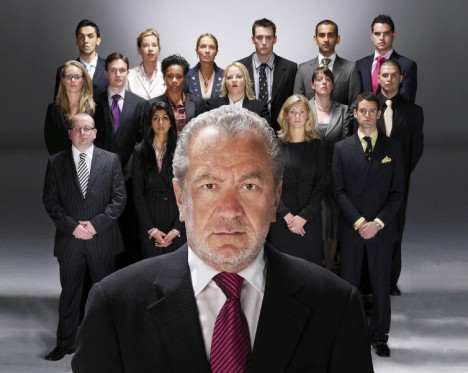 Katie Hopkins, second from left in back row, with fellow Apprentice contestants and Alan Sugar