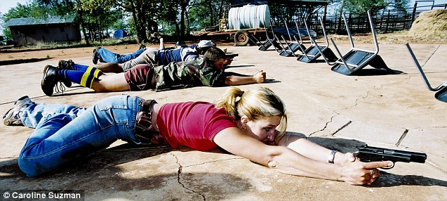 Farmers' wives learn how to defend themselves on a farm-attack prevention course near the Zimbabwean border