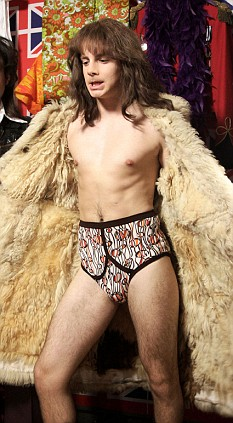 A young Tony Blair in his underpants played by actor, Christian Brassington who will now play Boris Johnson