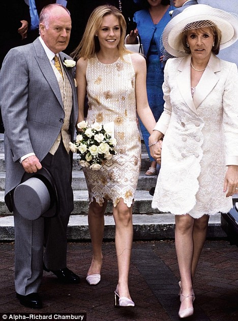 Rachel Wilcox with her father, Desmond, and mother, Esther Rantzen, as the couple renew their wedding vows