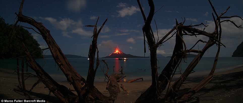Ominous glow: In 1883, more than 36,0000 people died. Today, thousands more farmers live near the volcano