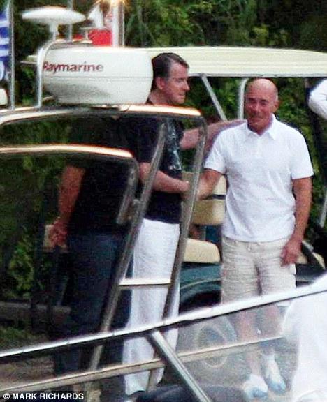 Welcome: Lord Mandelson greets billionaire David Geffen