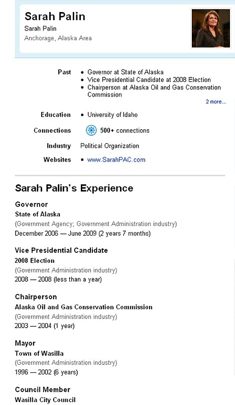 Sarah Palin 'posts Her CV On LinkedIn' Daily Mail Online