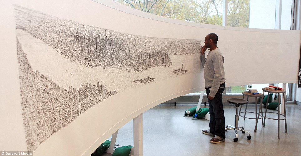 Autistic artist Stephen Wiltshire on his third day of drawing the New York skyline from memory