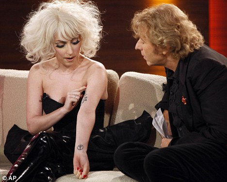Lady Gaga. The star discussed her tattoo of a Rilke poem with host Thomas