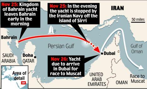 Iran yacht map