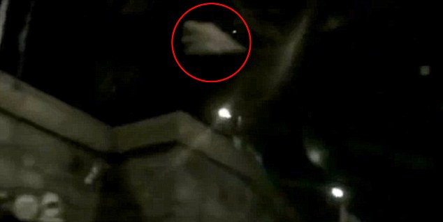 The 'UFO' at night hovering in the sky above Red Square