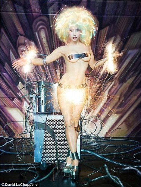 Electrifying: Lady Gaga gets wired up