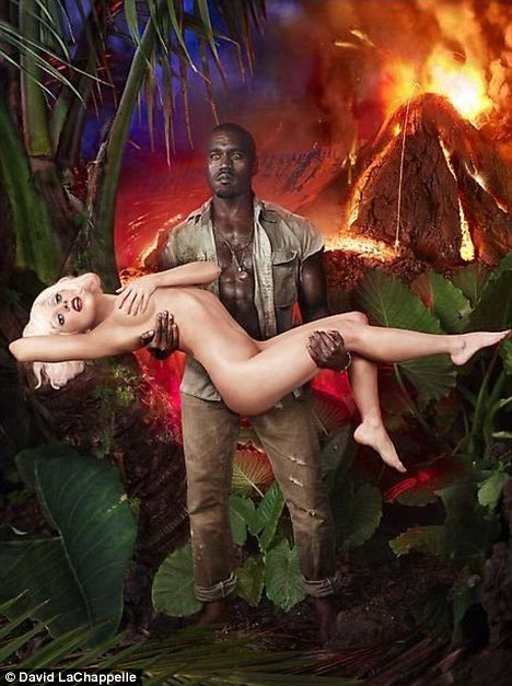 Damsel in distress? Lady Gaga lies naked in Kanye West's arm for new photo shoot