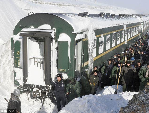 Train stuck in snow