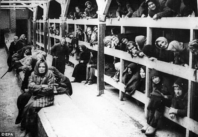 An undated file picture of the women's barrack in the Auschwitz-Birkenau concentration camp