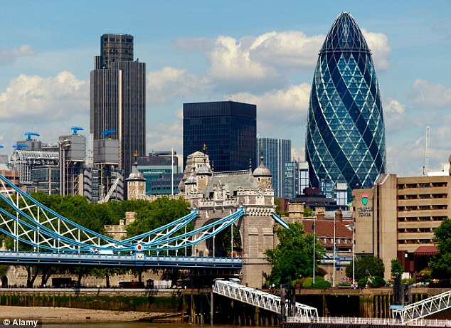 At 180 metres, the Gherkin stands tall in the London skyline