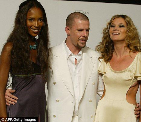 Model Naomi Campbell, designer Alexander McQueen and model Kate Moss