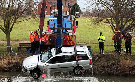 The Vauxhall Vectra was pulled from the River Avon today