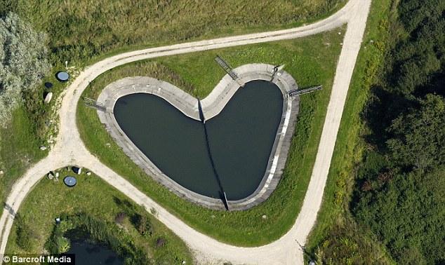 A heart-shaped reservoir in Schoenberg, Germany