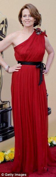 Avatar star Sigourney Weaver in scarlet Lanvin