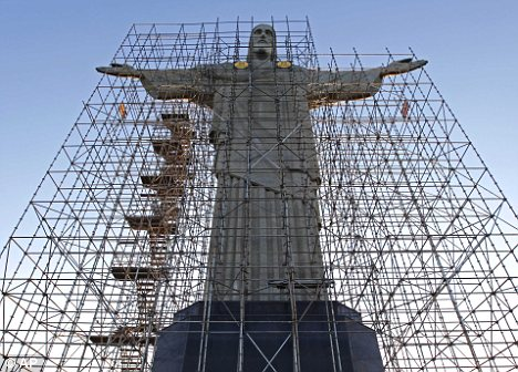 Statue Of Christ In Rio Covered In Scaffolding As It Gets