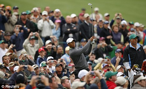 Tiger Woods at the 12th hole at the Augusta National Golf Club