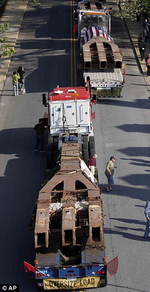 World Trade Center steel girders are returned to town